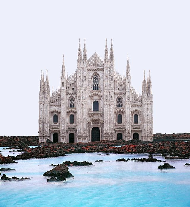 For those of you who are in Milan right now, go to the main square and witness yourself that Duomo di Milano is no longer there. It has been moved to a different location.  #misplaced #misplacedseries #duomo