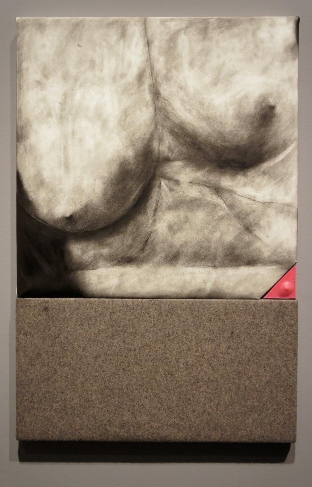 Understudy , 2014. Graphite on paper, felt, silicone, Pepto-Bismol.  45 x 30 x 2 in.