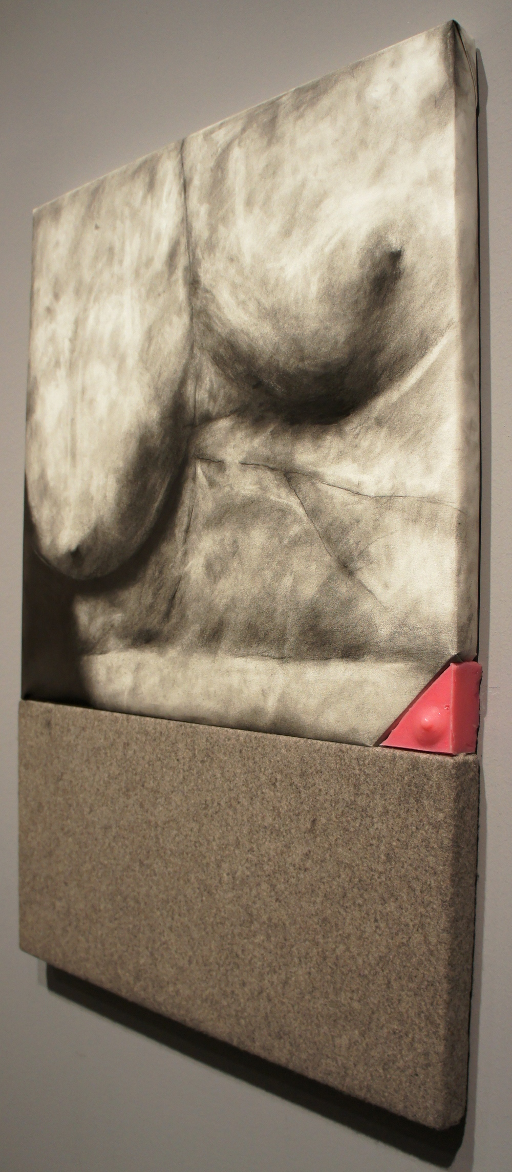 Understudy  , 2014. Graphite on paper, felt, silicone, Pepto-Bismol. 45 in. x 30 in x 2 in.