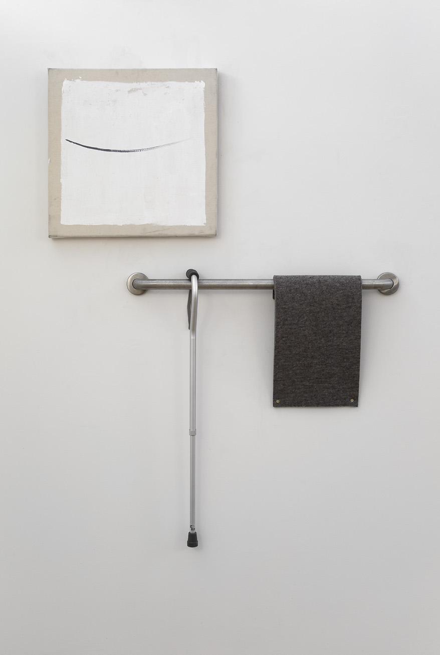 Surrogate  , 2013. Oil on canvas, steel railing, aluminum cane, felt, brass screws. Dimensions variable (canvas 24 x 24 in.).