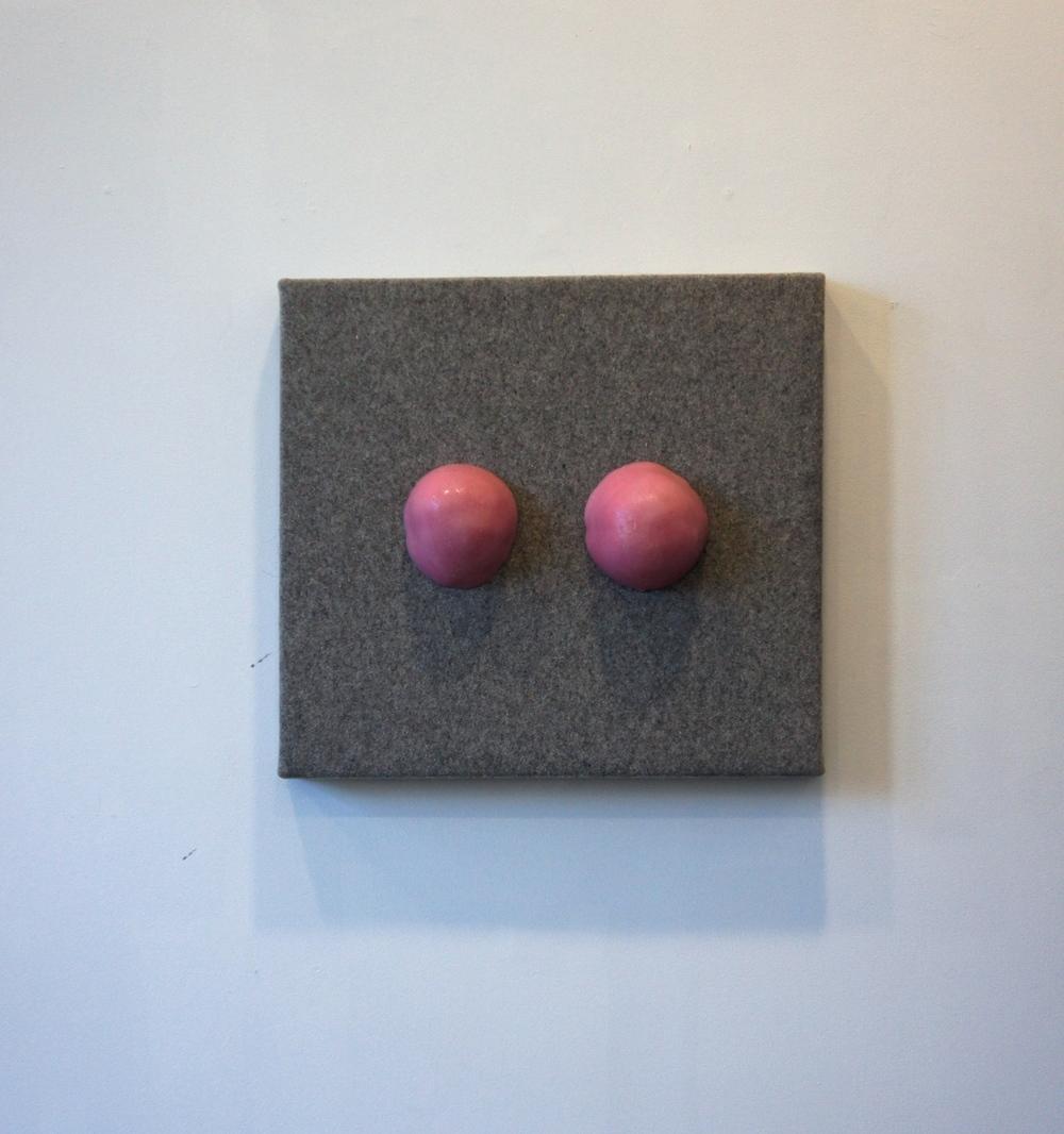Untitled ,2015. Felt, silicone, Pepto-Bismol.24 x 28 in.