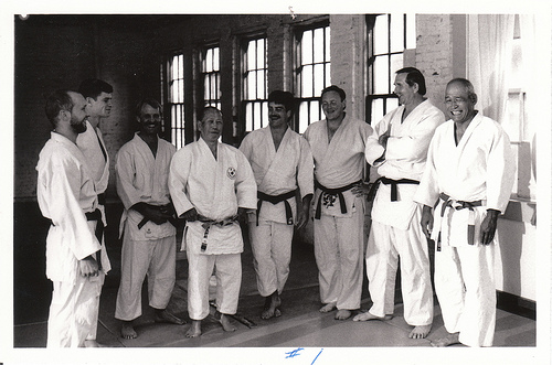 Shinojima Sensei at the old Johnson Street dojo. Left to right - Trevor Roseborough, Wayne Unger, Bob Sherman, Shinojima Sensei, Mickey Fitzgerald, Denis Combet, Bill Kovitz, Inouye Sensei. Photo courtesy of Victoria Judo Archives