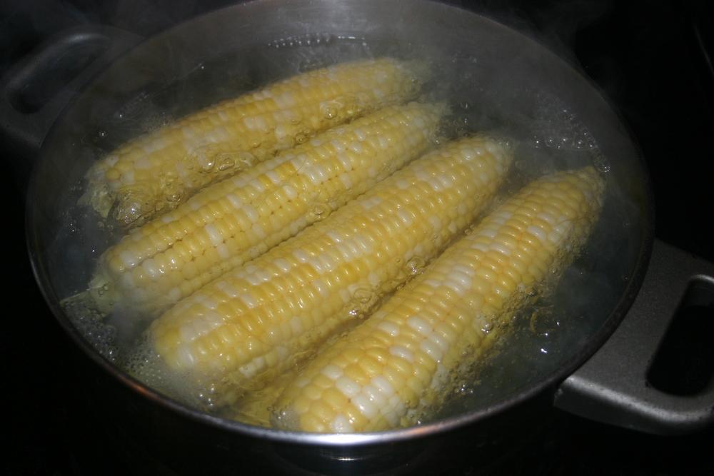 Corn in a rolling boil