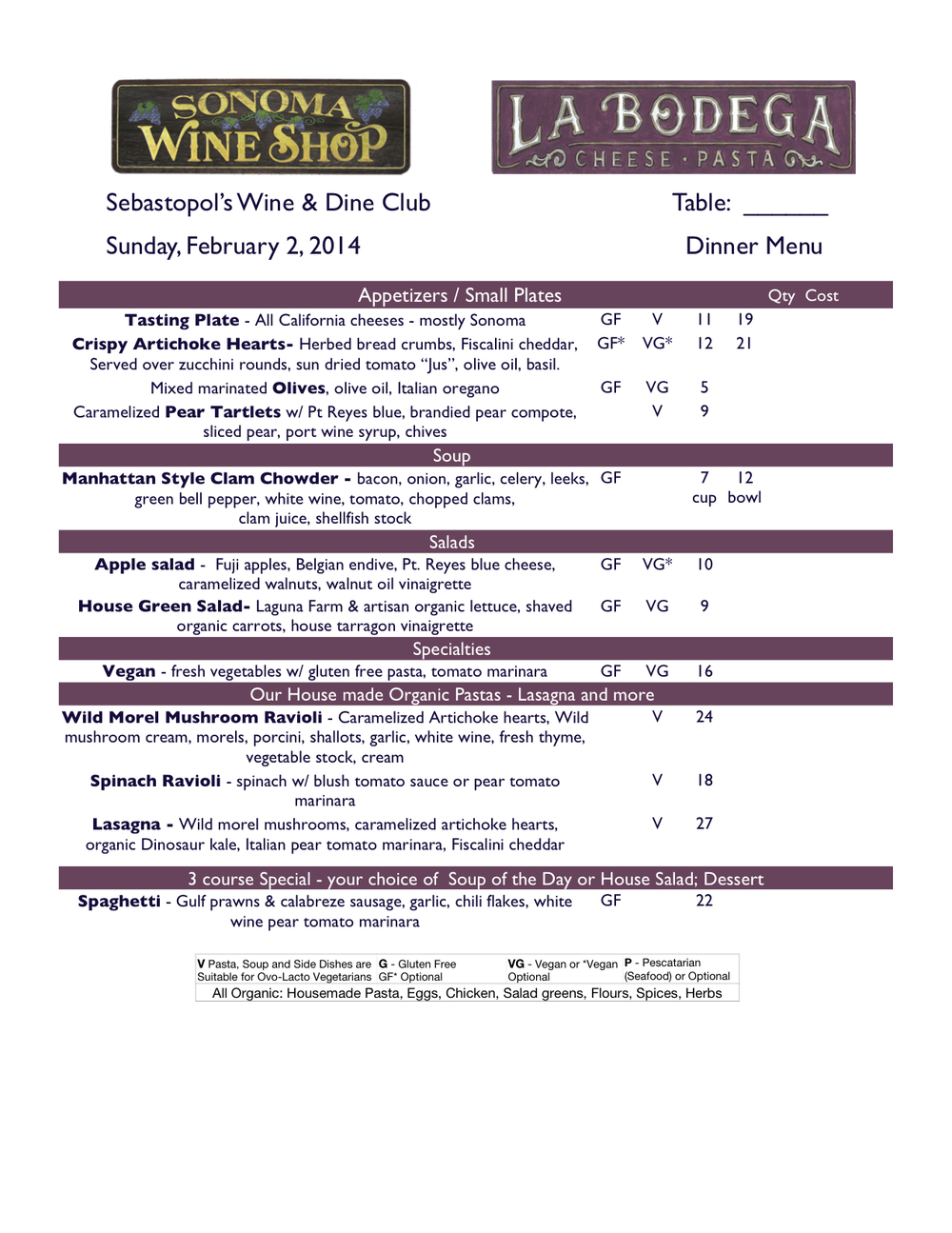 Sample regular menu - Click for full size