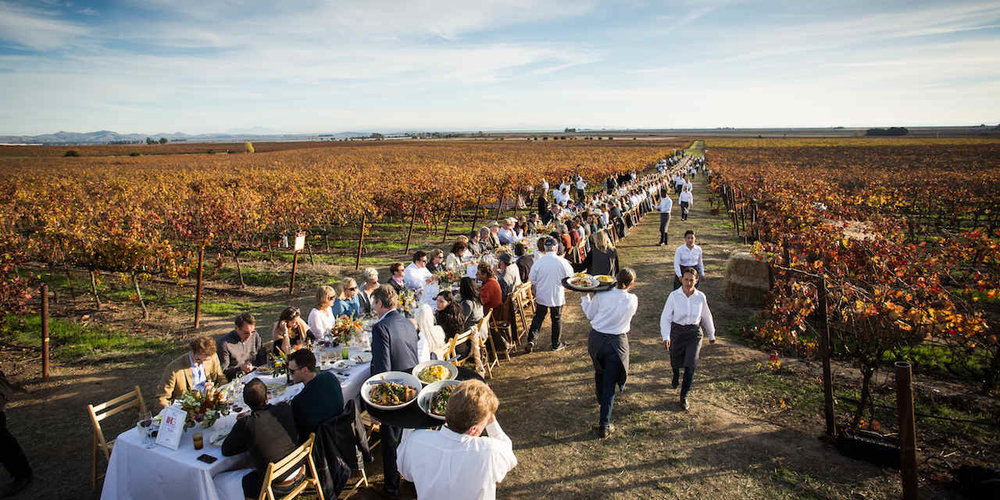Grateful Table - Dinner for 500 - First responders, winemakers, chefs, volunteers, travel writers - Napa/Sonoma county Line - November 21, 2017 -  Click for full story.