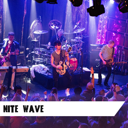 Known for their high energy show, Nite Wave continues their '80s dance ways performing New Wave hits from Duran Duran, INXS, Frankie Goes to Hollywood, The Cure, New Order, Prince, Depeche Mode and more! Most noted for being handpicked by Billy Idol to open for the legendary '80s rocker, they have also performed with Multi-Platinum recording artist Tiffany and Everclear. Featured on CNN and Good Morning America, Nite Wave has help raise over $17,000 for Northwest Harvest and American Red Cross.   www.nitewaveparty.com    Like them here  and see them  perform here