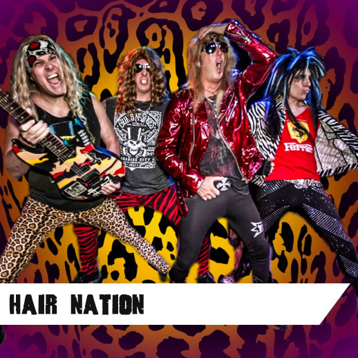 Hair Nation, the region's Ultimate 80's Hair Rock Band, recreates the experience of the mid-80's hair rock scene: powerful, high energy shows that dazzle crowds, with authentic 80's era outfits, humorous banter and rad stage show. Experience the sounds and antics of Bon Jovi, Van Halen, Def Leppard, Motley Crue, AC/DC, Twisted Sister, Whitesnake, Gun N' Roses, and more! Reviving music from an era when the men looked like women and the women looked like even hotter women, Hair Nation is THE band that really gets a crowd up and rocking, dancing and singing along...great fun had by all!   www.hairnationrocks.com   Like them on  Facebook here