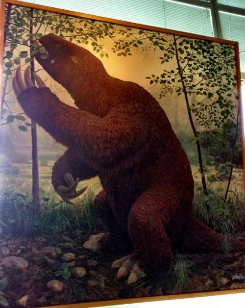 Giant Ground Sloth shovelling a salad at the Yukon Beringia Interpretive Centre. Big stuff, kids!
