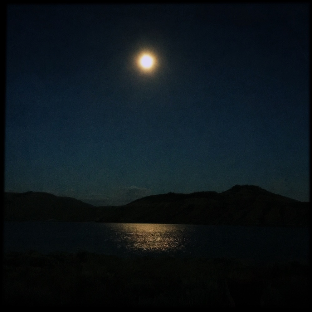 A full moon reflecting off the reservoir. Does it get any better than this?
