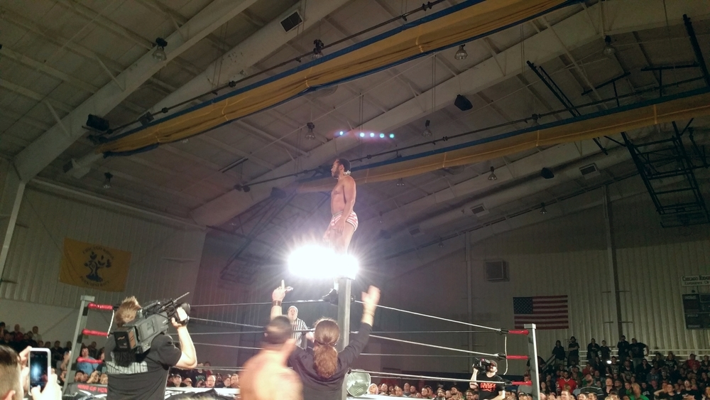 Jay Lethal climbs to the top rope in his underwear