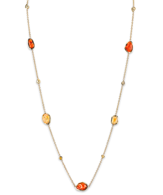 Fire Opal & Diamond Slice Necklace