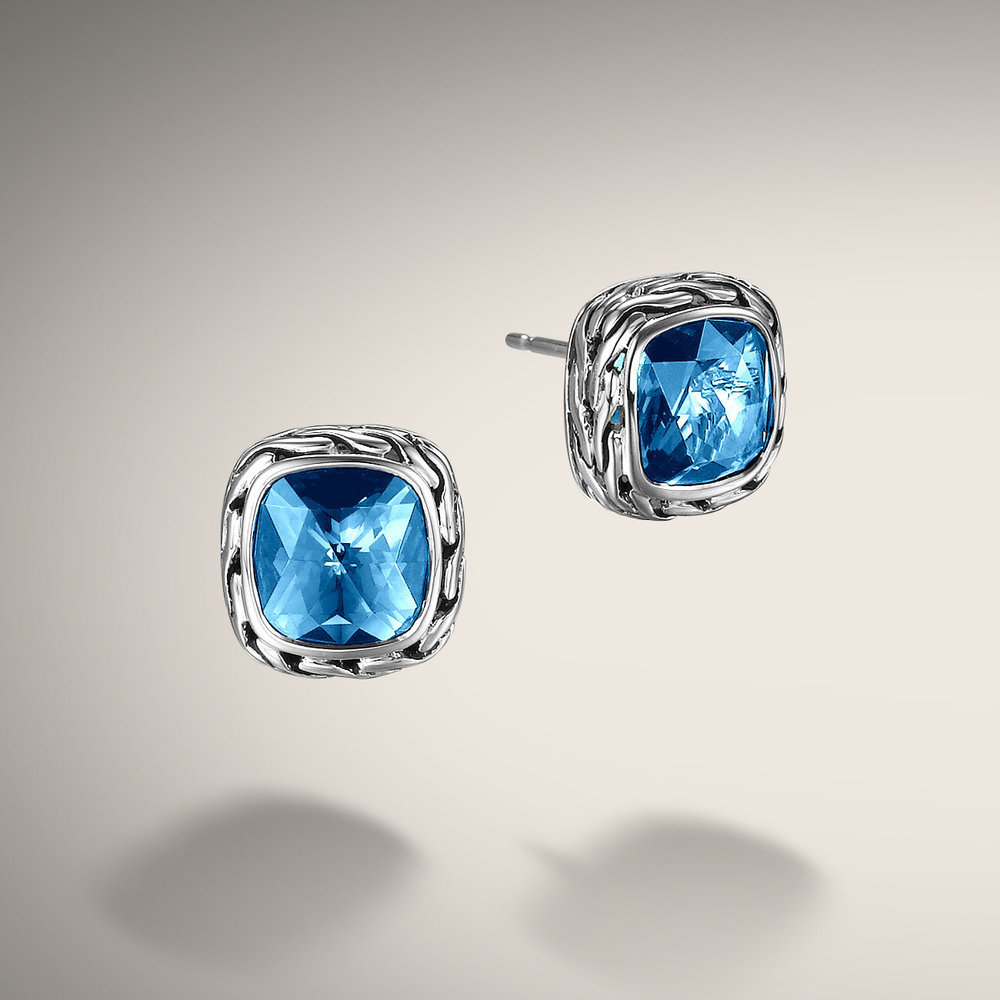 Blue topaz classic chain studs by world renown designer John Hardy. Available in many colors, classic styling.  $395