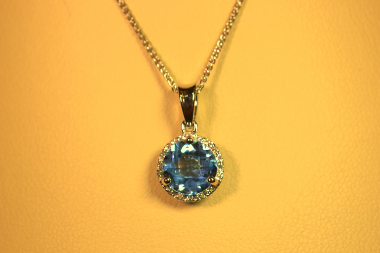 Blue topaz pendant necklace with diamond halo engagement rings checkerboard finish blue topaz swiss blue stone with diamond halo white gold bail and chain aloadofball Image collections