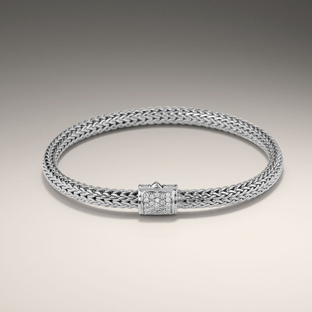 John Hardy classic chain stackable bracelet with diamond pave clasp. A classic look that every woman loves.  $895
