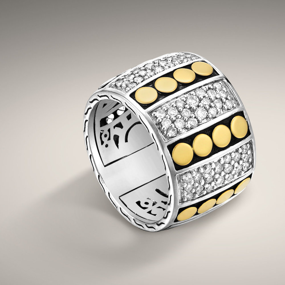 John Hardy dot collection diamond pave and two tone silver 18 karat gold ring pave diamond sections with a 18 karat yellow dot section. $1195