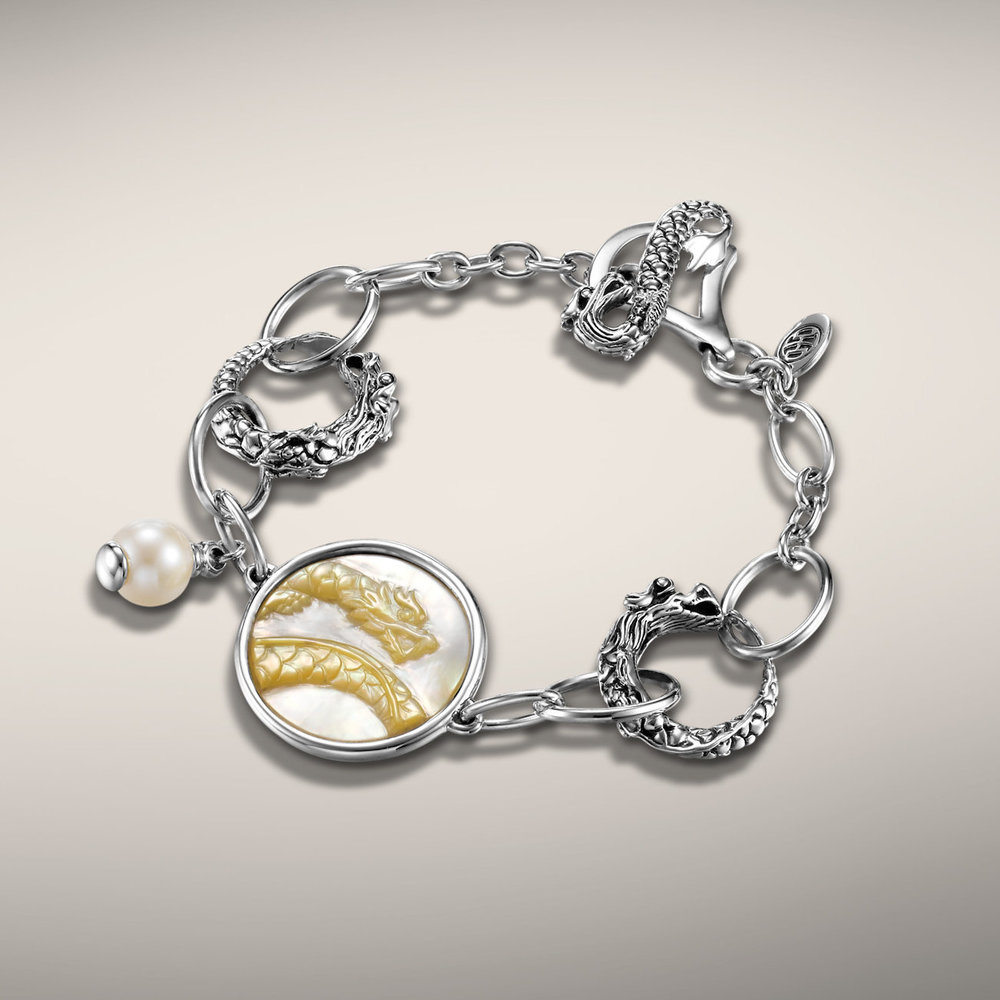 John Hardy naga dragon bracelet with mother of pearl carved dragon. Handmade in Bali. $450