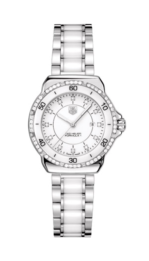 Ladies Tag Heuer diamond dial bezel with white ceramic face. Also available in black. $2320