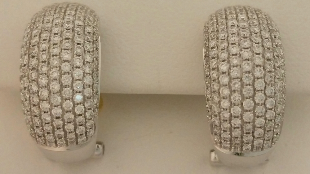 18 Karat White Gold 2 Carat Diamond Pave Hoops
