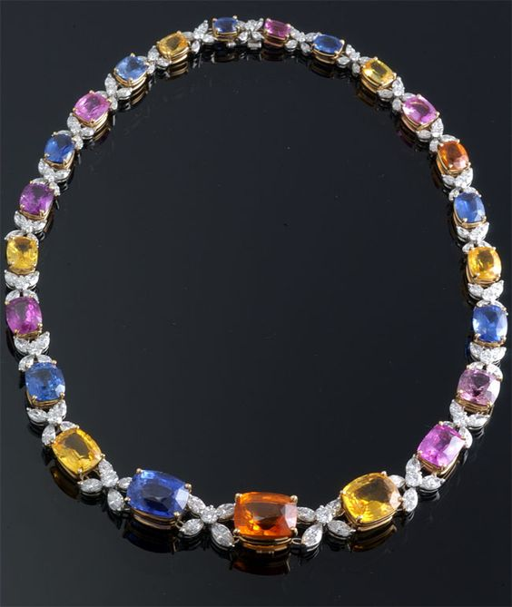 Rainbow Sapphire and Diamond Necklace