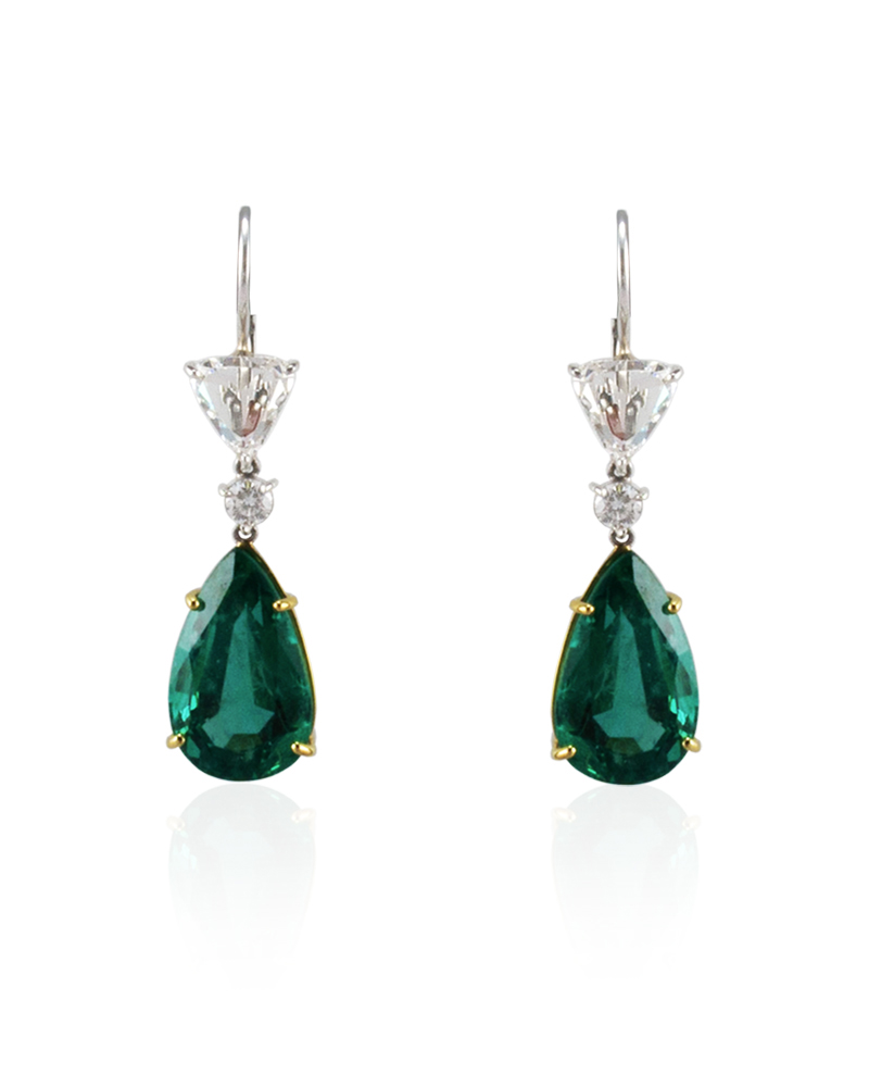 Diamond and Columbian Emerald Earrings