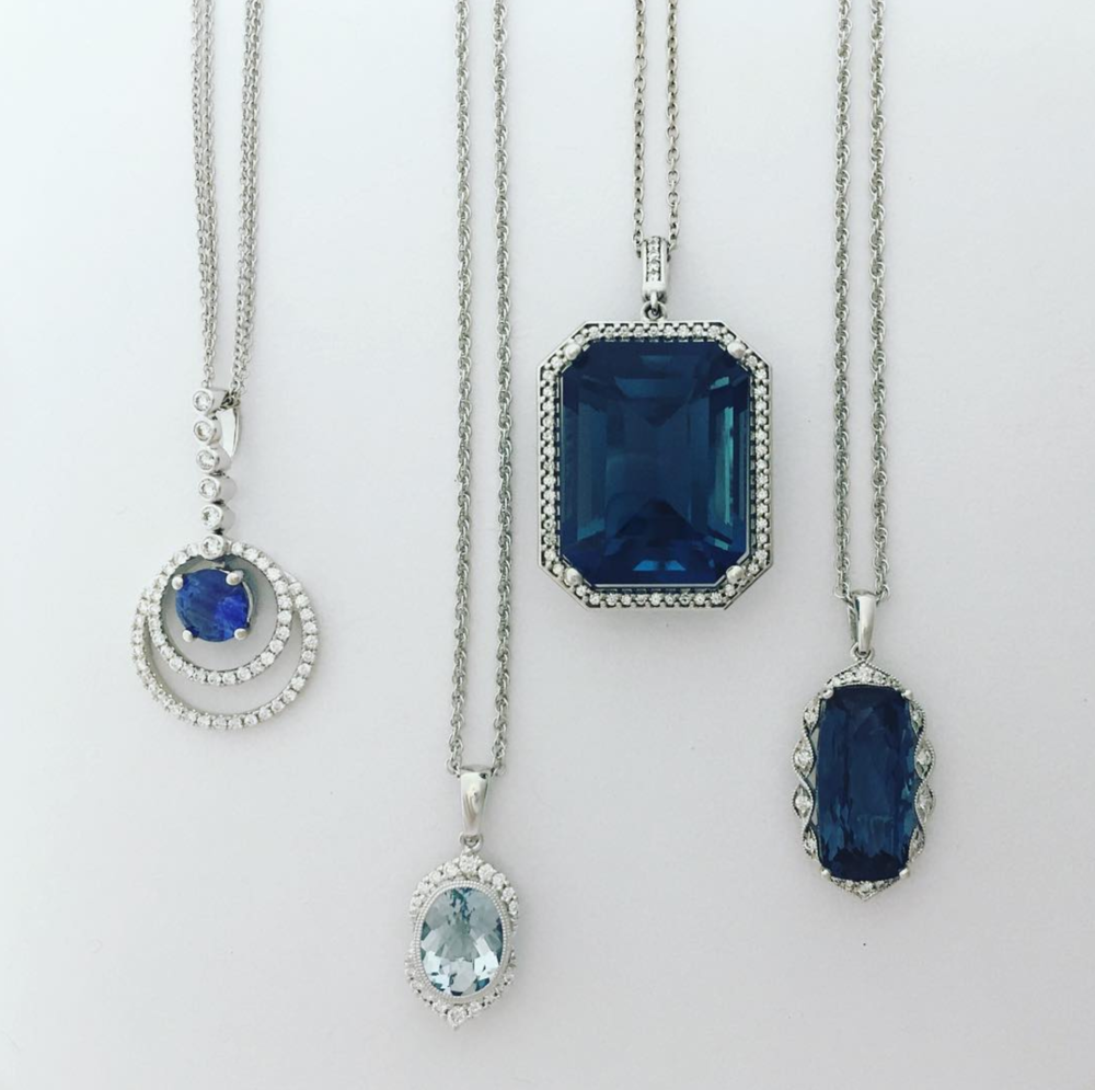 Marlen Jewelers' current selection of sapphire pieces includes these beautiful pendants.