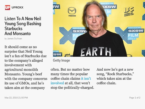 Listen To A New Neil Young Song Bashing Starbucks And Monsanto