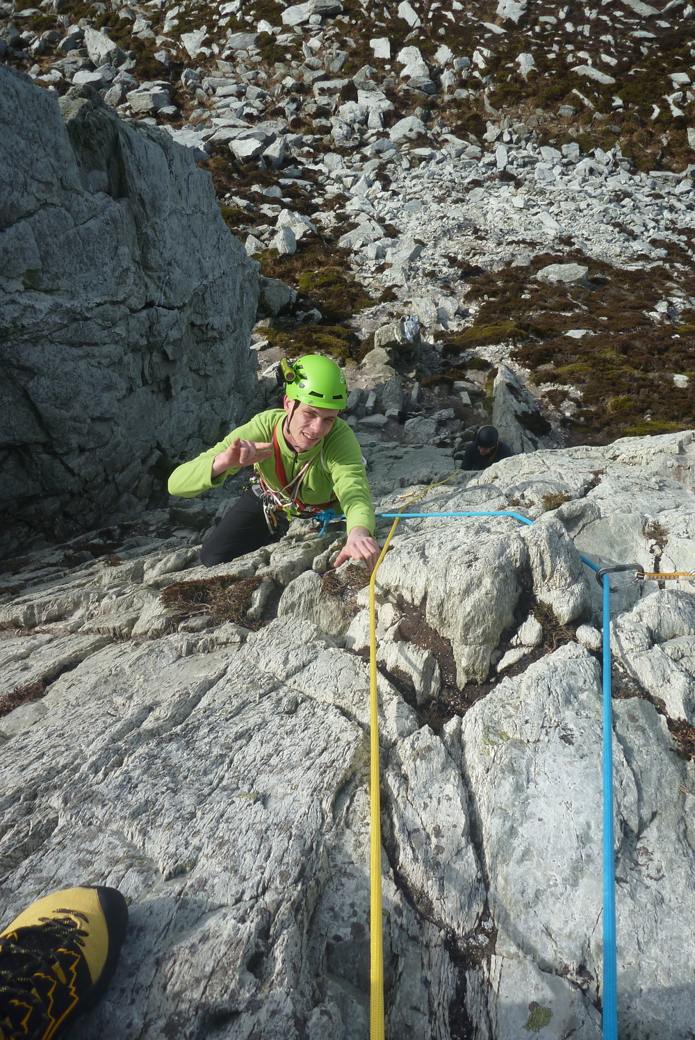 """Dave """"giving it the large"""" on Holyhead Mountain"""