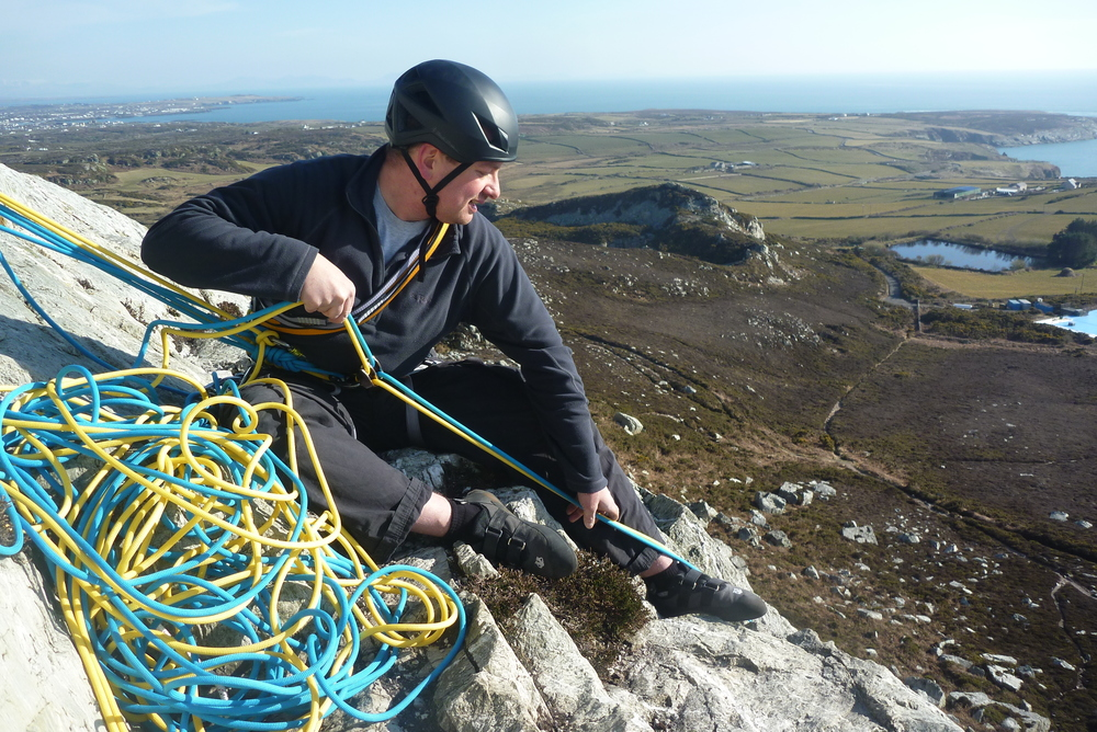 Matt bringing Dave up after his first trad' lead.