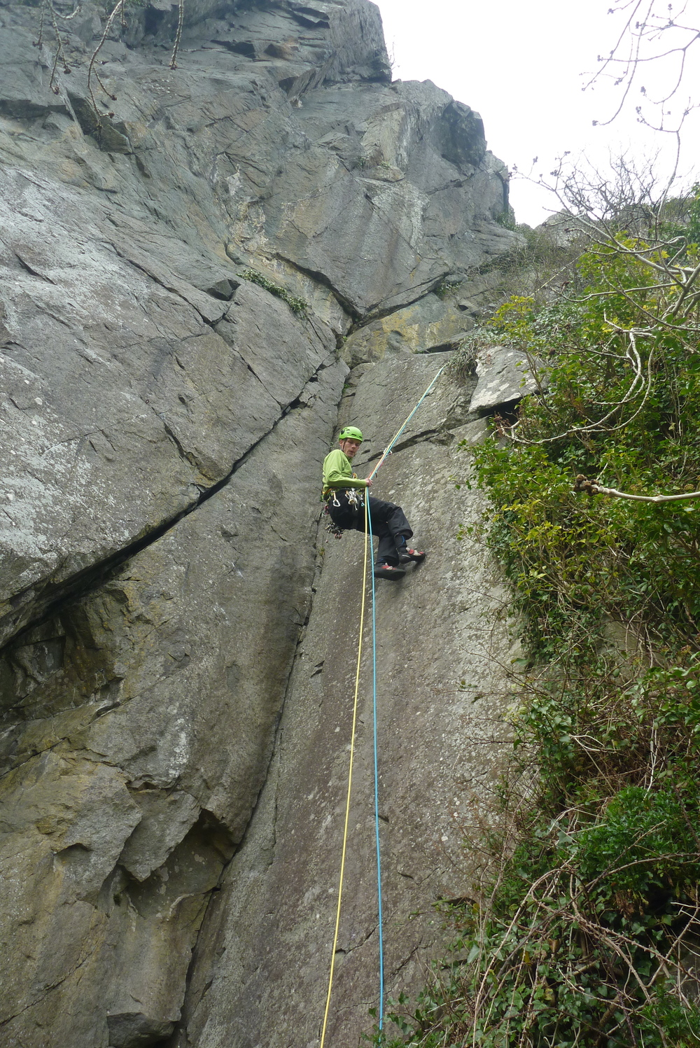 Dave abseiling back down Clapton's Crack