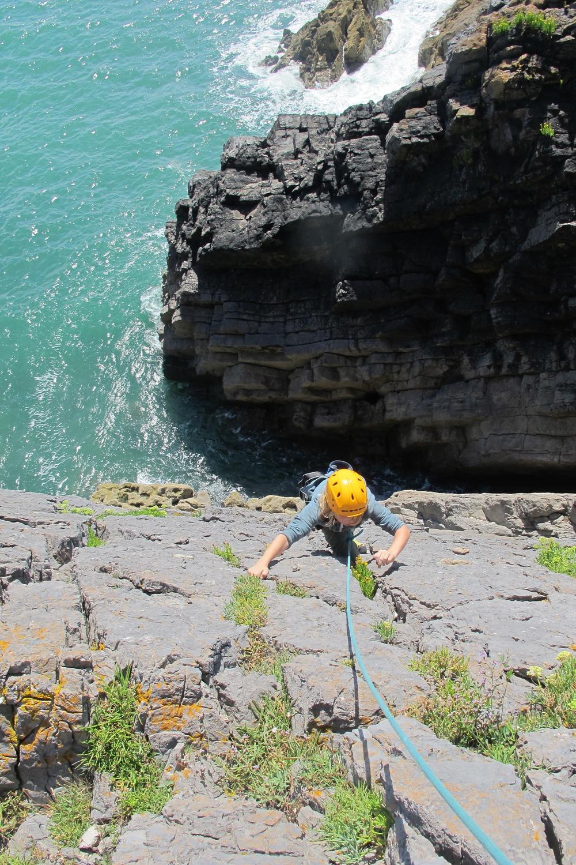 Sea cliff climbing in South Pembrokeshire