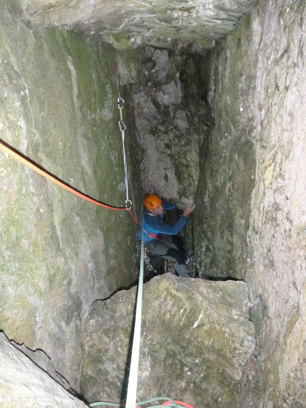 Nearing the first belay of Inner Space, Mother Carey's Kitchen, Lydstep area, South Pembrokeshire