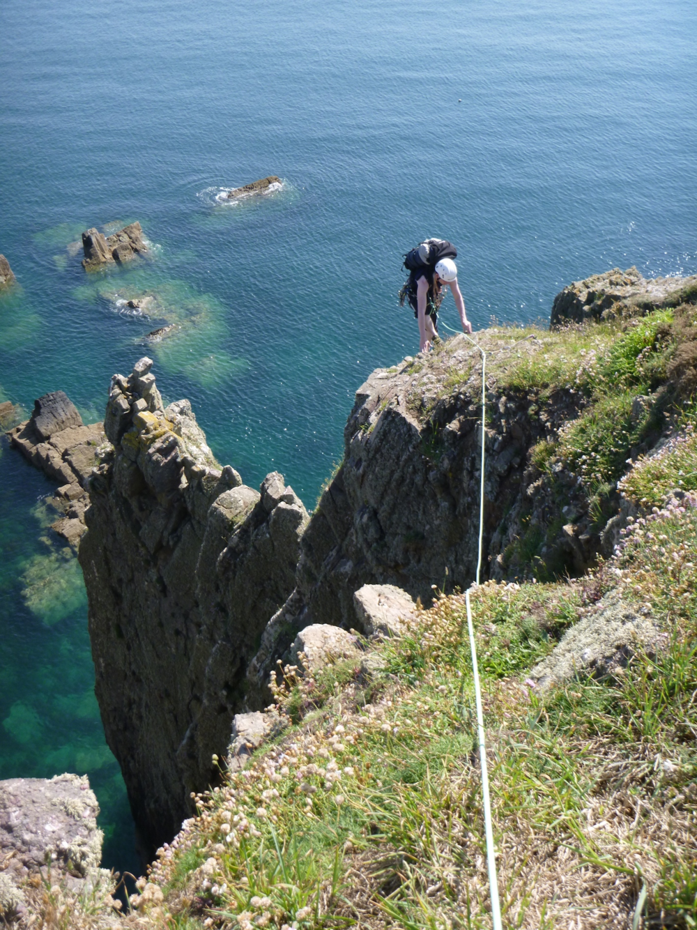 Topping out of St. Non's Pinnacle, St. David's area, North Pembrokeshire