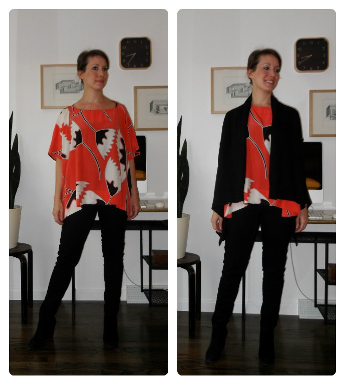 blouse: dvf; pants: old navy; boots: marshall's; sweater: ann taylor loft outlet (also worn  here )