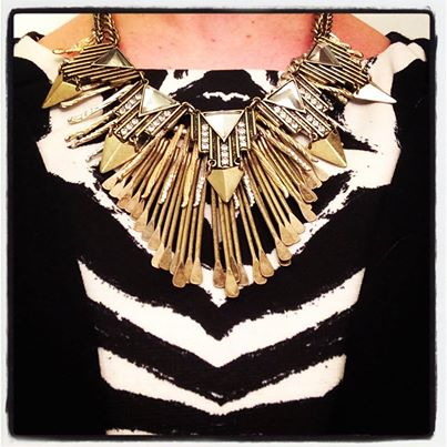 From  my instagram  - three necklaces layered for a night out over my well-used H&M dress