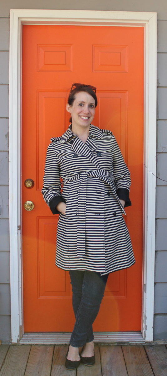 ann taylor loft striped trench