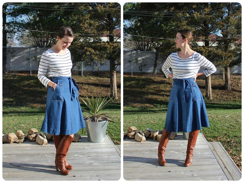 mindful closet blog - spring vintage denim skirt