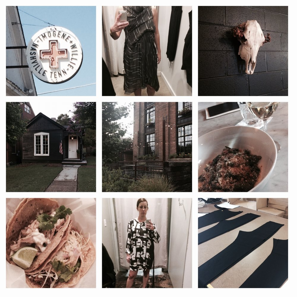 (clockwise from top left) Imogene & Willie, trying on Rick Owens at UAL, Mas Tacos, pasta at Rolf and Daughters, pants mid-construction at Elizabeth Suzann, more trying on, tacos at Mas Tacos, a cute house in Germantown, Rolf and Daughters.