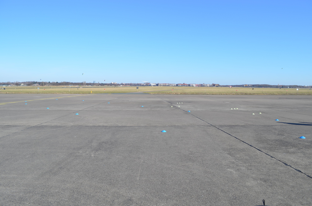 One of the taxiways at Tempelhofer Feld. The deeper into the park you walk, the more that the city fades into the distance.