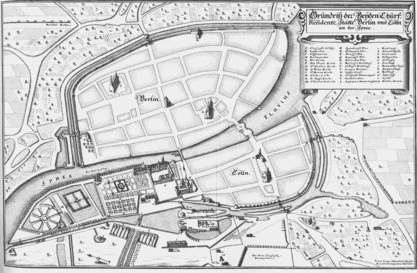 A map of Berlin from 1650. The medieval wall straddles both sides of the River Spree, with what is now Museum Island in the lower section of the photo. Photo credit:  City of Berlin