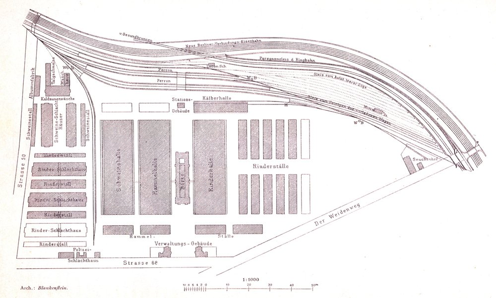 "The layout of the original slaughterhouse. ""Der Weidenweg"" is now called. Eldenaerstr.  Source ."