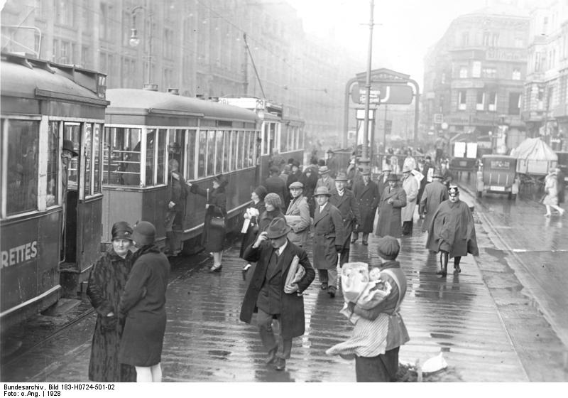 The tram stop at Alexanderplatz in 1928. Did Franz take a ride in one of these trains? Photo credit:  creative commons.