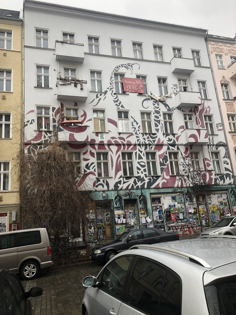 Another squatted building located on Samariter Straße, around the corner. There's a cafe inside as well as a space for events.