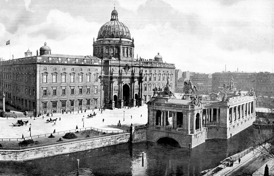 The Berliner Schloss in 1900, with the to Kaiser Wilhelm National Monument in the foreground. Photo Credit:  Creative Commons.