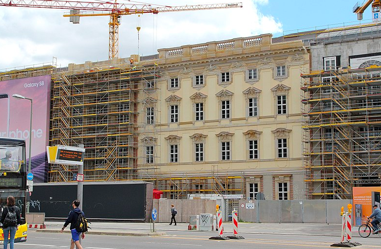 Reconstruction of the facade of the Berliner Schloss in 2017. You can see the modern concrete construction at the top right of the photo. The historical facade is just a thin layer, essentially just a shell on top of the concrete structure. Photo credit:  Creative Commons.