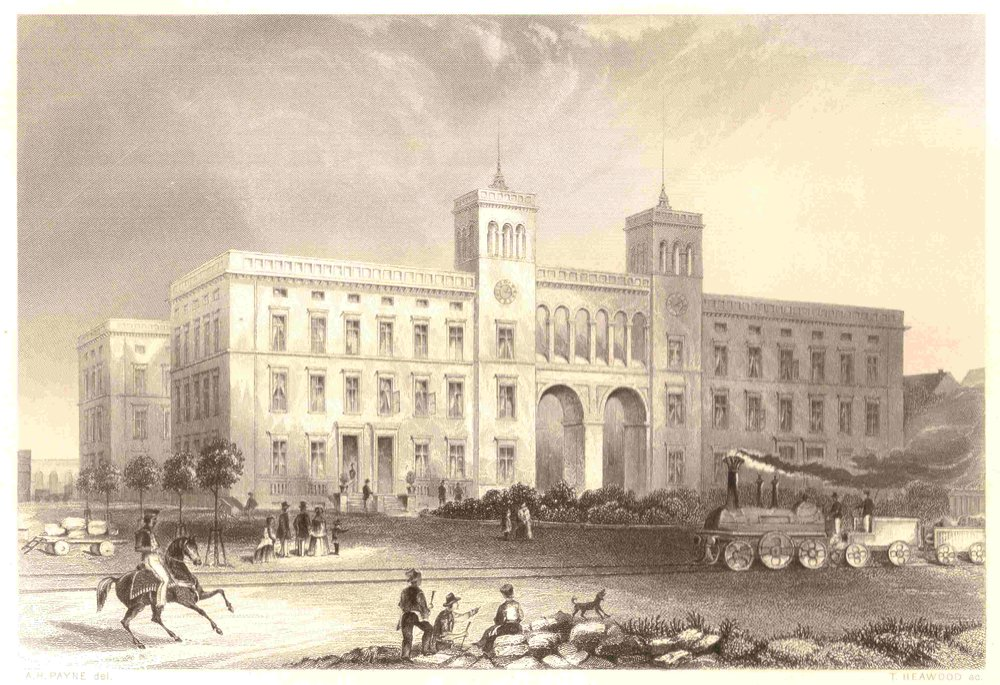 The Hamburger Bahnhof in 1850, not long after its completion in 1847. The Hamburgher Bahnhof was one of 5 new train stations built with a 10 year period in the mid-19th century. Image credit:  Creative Commons.