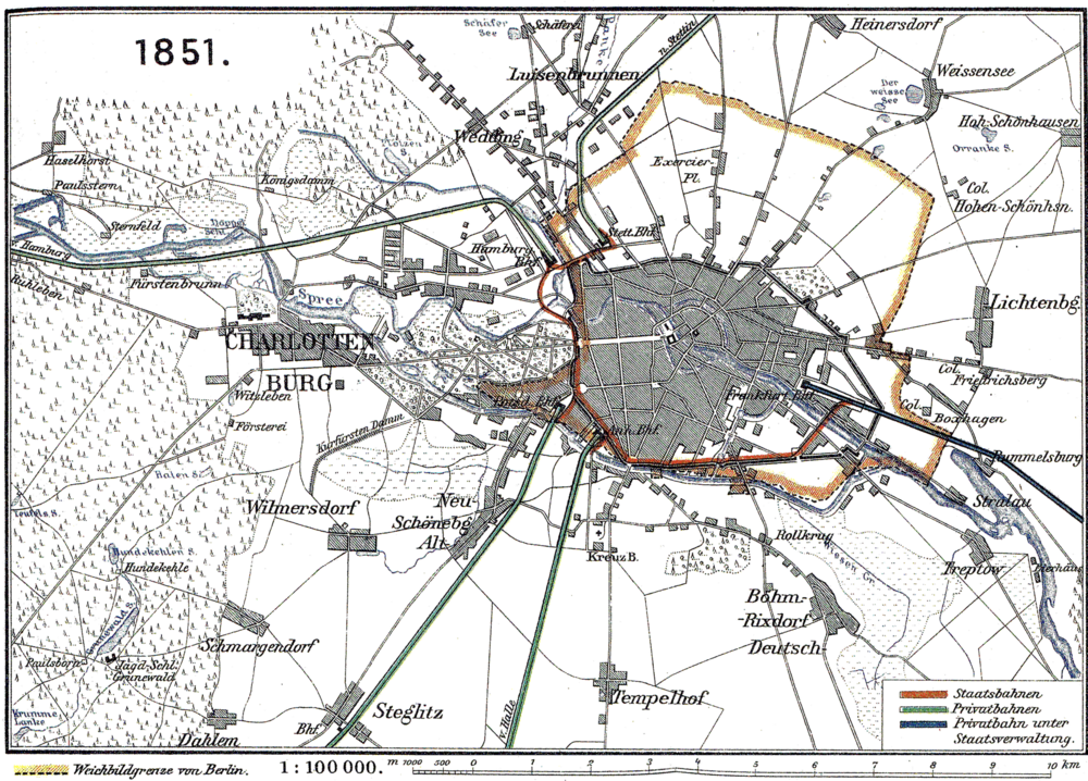 A map of the Berlin Connector train from 1851. The dark-brown line is the the route of the tracks. The lighter brown highlight denotes the city limits. Image credit:  creative commons.