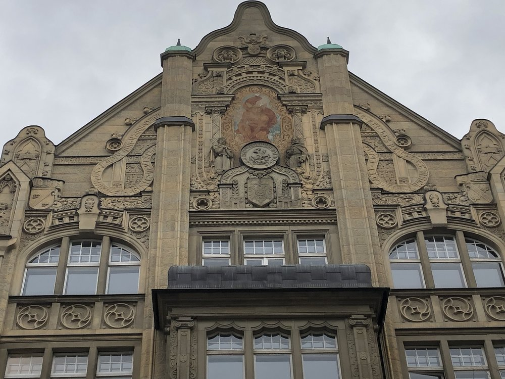 The intricately carved facade of the Hotel Roter Adler in Berlin. The Hotel is located just down the street from Checkpoint Charlie.