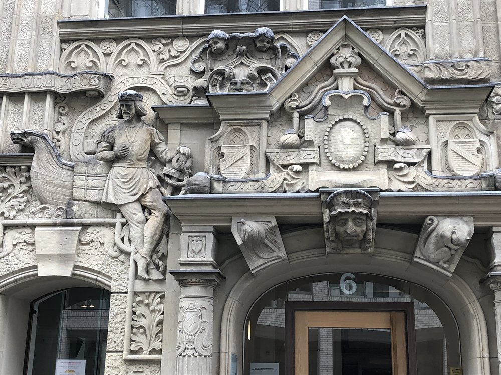 The facade features scenes and categories from German history. I think this is appropriate for a building not far from Berlin's political capitol.
