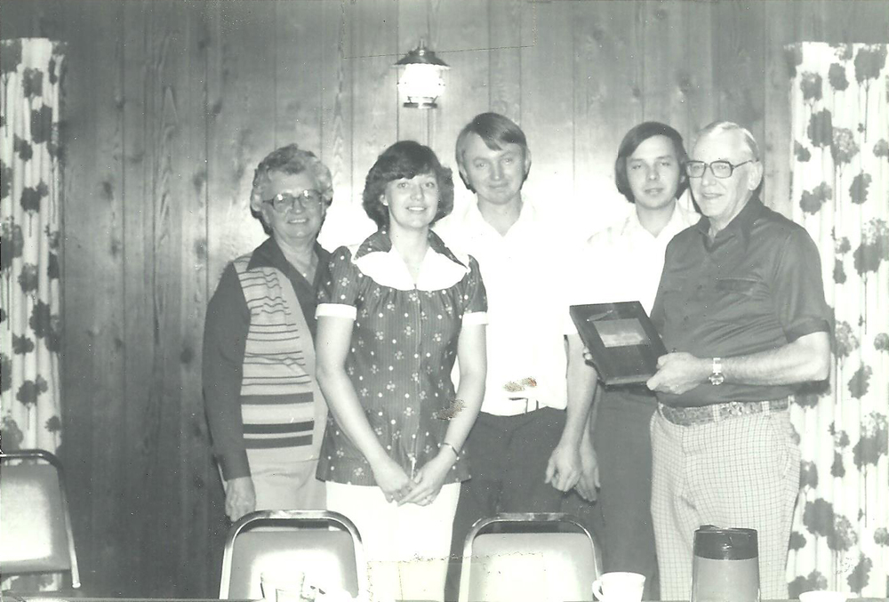 Bernice Klemme, Kathy Roehl, Roger Klemme, John Roehl and Rey Klemme in the early days of Wagon Wheel.