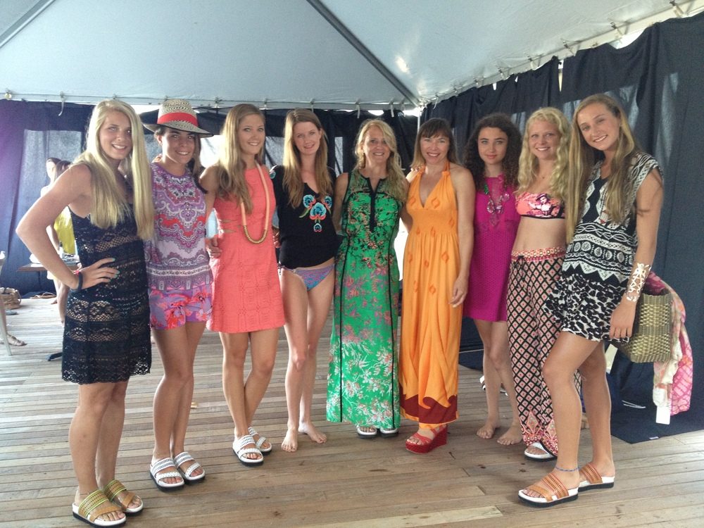 Nannette Lepore, Carmen Adriana and models after styling the fashion show at Gurney's